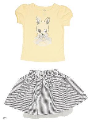 Футболка, юбка Gleoite Wardrobe. Цвет: желтый, белый, черный