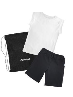Комплект для физкультуры мальчики МИКИТА. Цвет: белый, черный