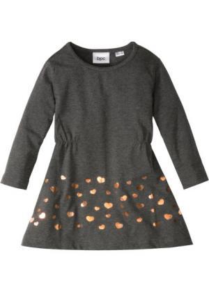 Трикотажное платье (антрацитовый меланж/бронзовый с рисунком) bonprix. Цвет: антрацитовый меланж/бронзовый с рисунком