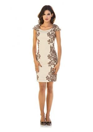 Коктейльное платье. Цвет: кремовый/серо-коричневый