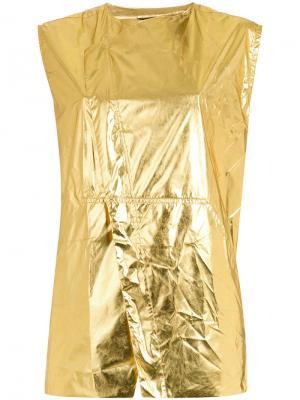 Жилетка с эффектом металлик Osklen. Цвет: жёлтый и оранжевый