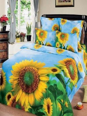 Комплект постельного белья из тк.Сатин в упаковке книжка Злата Арт Постель. Цвет: голубой, желтый, зеленый