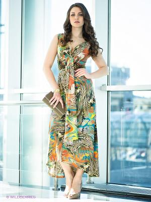 Платье МадаМ Т. Цвет: зеленый, коричневый, оранжевый