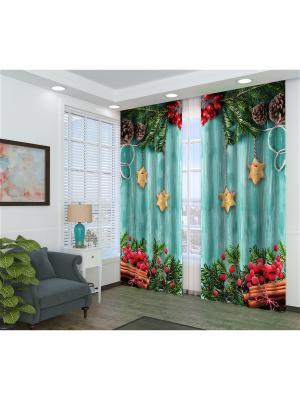 Фотошторы Рождественское оформление Сирень. Цвет: зеленый, бирюзовый