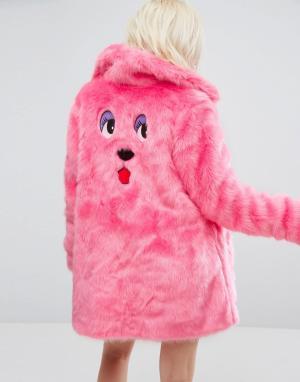 Lazy Oaf Оверсайз-шуба из искусственного меха с вышивкой в виде медведя Oa. Цвет: розовый
