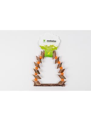 Игрушка для птиц Качели Орешник c бусинками средних 28см Zoobaloo. Цвет: коричневый