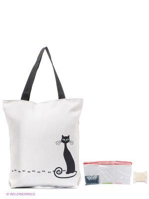 Набор для шитья и вышивания текстильная сумка  р.44*46 Черная кошка Матренин Посад. Цвет: бежевый, черный