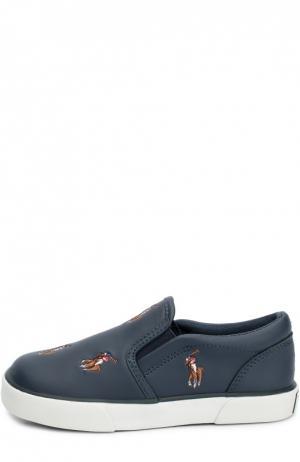 Слипоны из эко-кожи с нашивками Polo Ralph Lauren. Цвет: синий