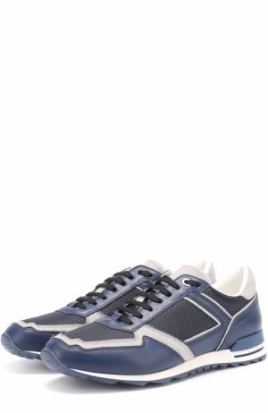 Комбинированные кроссовки на шнуровке с камуфляжным принтом Canali. Цвет: темно-синий