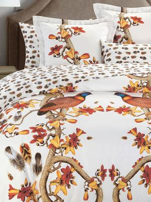 Комплект постельного белья Евро (Pheasant) н(2)70*70 н(2)50х70 АА сатин панно Mona Liza. Цвет: белый