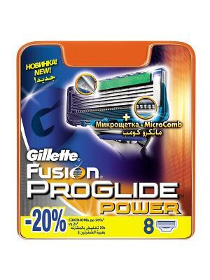 Сменные кассеты для бритья FUSION PROGLIDE Power, 8 шт. GILLETTE. Цвет: оранжевый