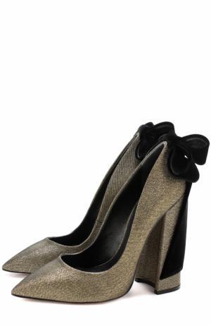 Туфли Babo из металлизированного текстиля с бантом Aleksandersiradekian. Цвет: золотой