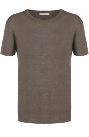 Льняная футболка с круглым вырезом Daniele Fiesoli. Цвет: хаки