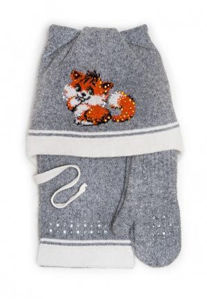 Комплект шапка, шарф и варежки Dan & Dani. Цвет: серый