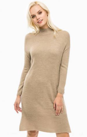 Бежевое вязаное платье с длинными рукавами ONLY. Цвет: бежевый