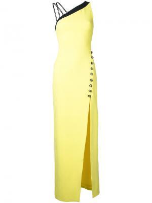 Длинное платье с асимметричными плечами David Koma. Цвет: жёлтый и оранжевый