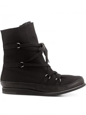Сапоги на шнуровке Yohji Yamamoto. Цвет: чёрный