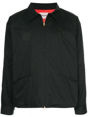 Куртка с вышивкой monkey time. Цвет: чёрный