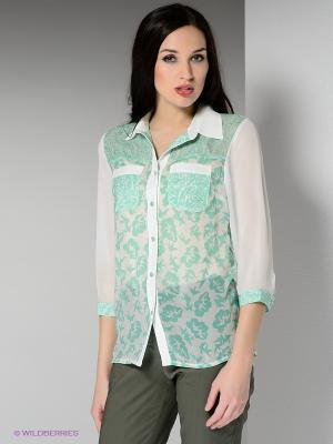 Блузка BOVONA. Цвет: белый, светло-зеленый