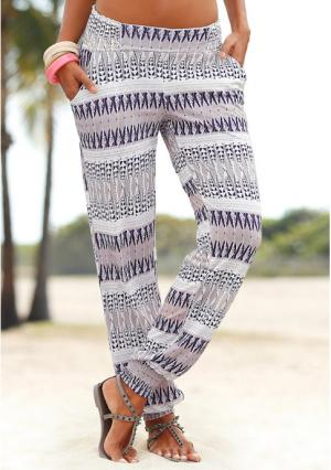 Пляжные брюки Lascana. Цвет: песочный/лиловый, хаки, черный, черный в цветочек