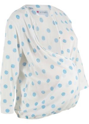 Блузка для беременных и кормящих мам (белый в горошек) bonprix. Цвет: белый в горошек