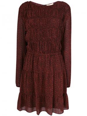 Платье с длинными рукавами и принтом Michael Kors. Цвет: красный