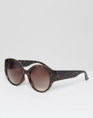 New Look Солнцезащитные очки кошачий глаз в черепаховой оправе. Цвет: коричневый