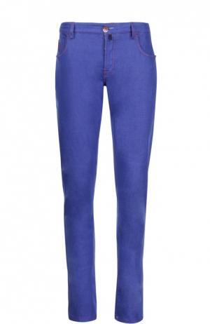 Зауженные брюки из эластичного денима Scissor Scriptor. Цвет: васильковый