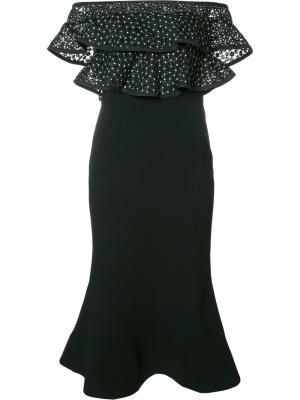 Платье с открытыми плечами Farina Flare Rebecca Vallance. Цвет: чёрный