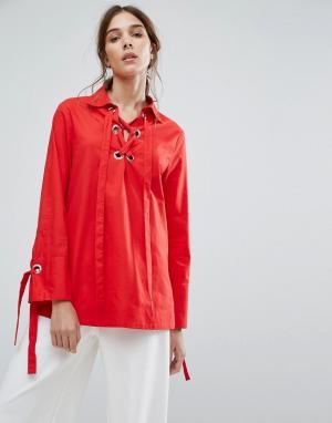 Neon Rose Свободная рубашка с лентами-завязками на манжетах и металлическими люв. Цвет: красный
