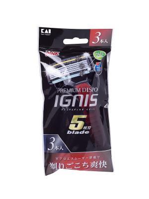 Бритва безопасная мужская одноразовая Premium Dispo IGNIS - 5 лезвий,  3 штуки Kai. Цвет: черный