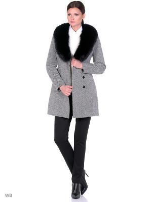 Пальто GallaLady. Цвет: молочный, черный