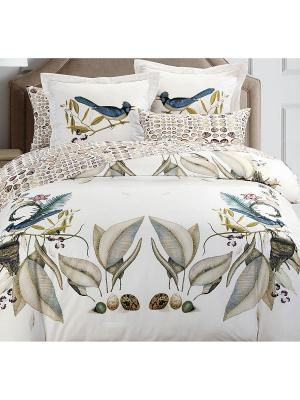 Комплект постельного белья 2сп (Paradise) н(2)70*70 н(2)50х70 АА сатин панно Mona Liza. Цвет: белый
