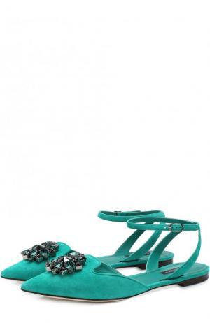 Замшевые балетки Bellucci с брошью Dolce & Gabbana. Цвет: зеленый
