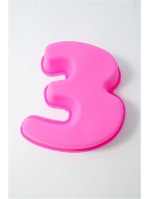 Форма для выпечки силиконовая, 17см, Цифра 2, 3, 4 Vetta. Цвет: розовый