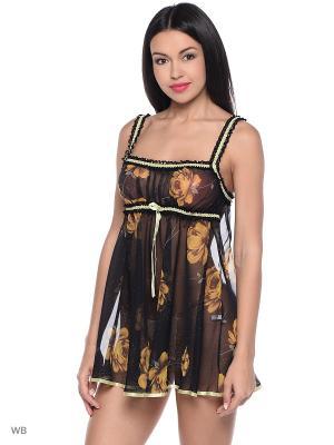Сорочка ночная Belweiss. Цвет: черный, светло-коричневый, темно-бежевый