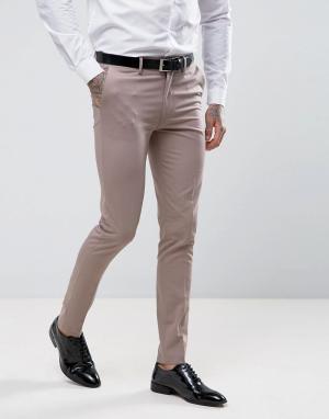 ASOS Розовые зауженные брюки под смокинг. Цвет: светло-бежевый