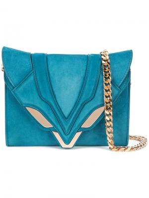 Сумка через плечо с декоративной строчкой Elena Ghisellini. Цвет: синий