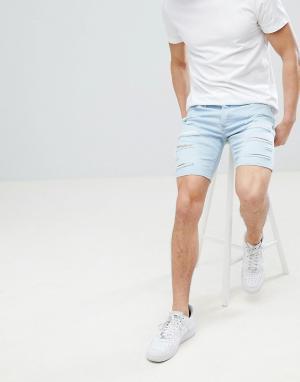 River Island Выбеленные джинсовые шорты скинни с рваной отделкой. Цвет: синий