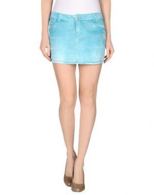 Джинсовая юбка JFOUR. Цвет: светло-зеленый