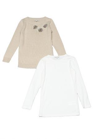 Туника с футболкой Silvian Heach Kids. Цвет: белый, бежевый
