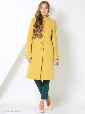 Пальто КАЛIНКА. Цвет: горчичный
