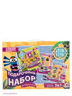 Подарочный набор 3 в 1. Лото, Мемо, Домино Origami. Цвет: бежевый, сиреневый