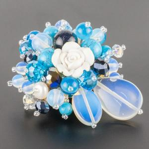 Брошь Флоренсия самоцветы, пластик, арт. бшС-2961 Бусики-Колечки. Цвет: голубой