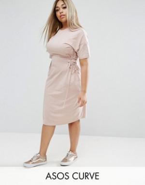 ASOS Curve Платье-футболка миди с отделкой под корсет. Цвет: бежевый