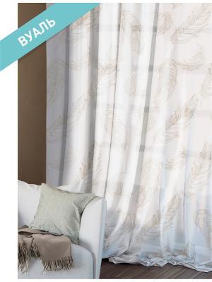 Комплект штор (2 шт.) Волшебная ночь, 150см*270см, ткань-Вуаль,  стиль-ЭТНО, ARIA ночь. Цвет: белый