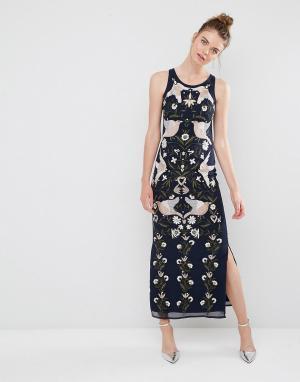 Frock and Frill Платье макси с вышивкой и отделкой бисером. Цвет: темно-синий