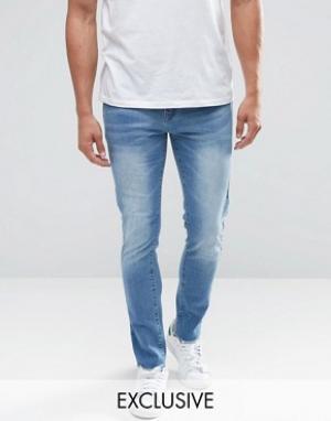 Always Rare Супероблегающие джинсы с необработанными краями. Цвет: синий