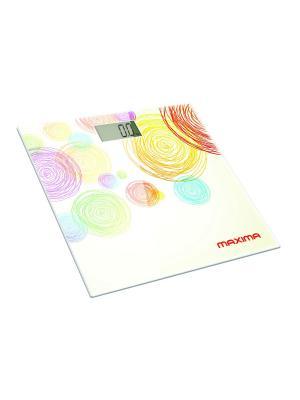 Весы напольные  MAXIMA МS-017 электронные (Круги). Цвет: бежевый, красный, желтый