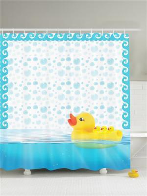 Фотоштора для ванной Жёлтая резиновая уточка, 180*200 см Magic Lady. Цвет: белый, голубой, желтый, оранжевый, синий